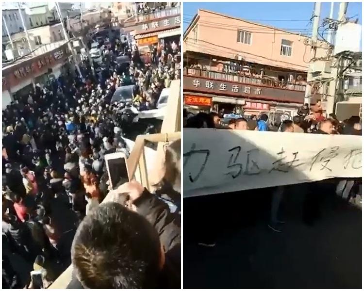外來人員在北京朝陽區費家村村委會前抗議。(微博圖片)