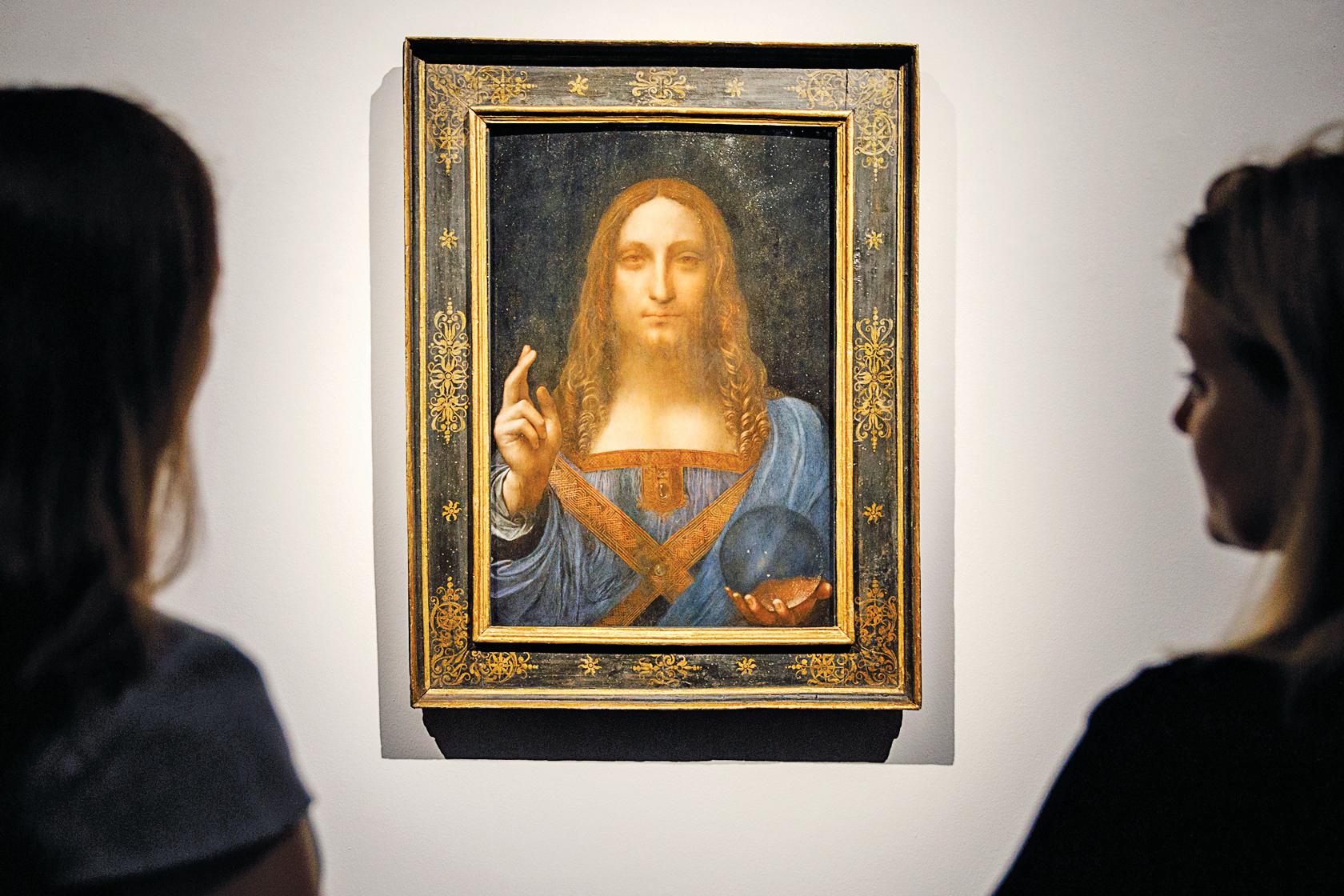 2017年11月15日紐約佳士得拍賣之前,達文西的《救世主》在倫敦市中心佳士得拍賣行進行預展。(AFP)