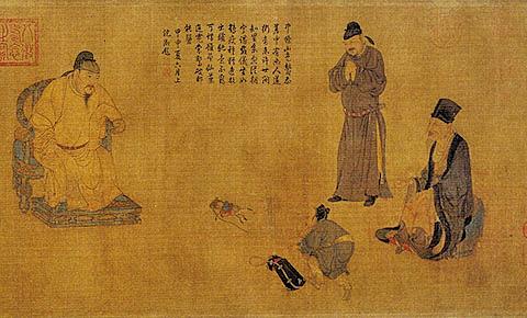 元.任仁發〈張果見明皇圖〉此畫描繪唐明皇接見傳稱 為「八仙」之一張果老的情景 (網絡圖片)