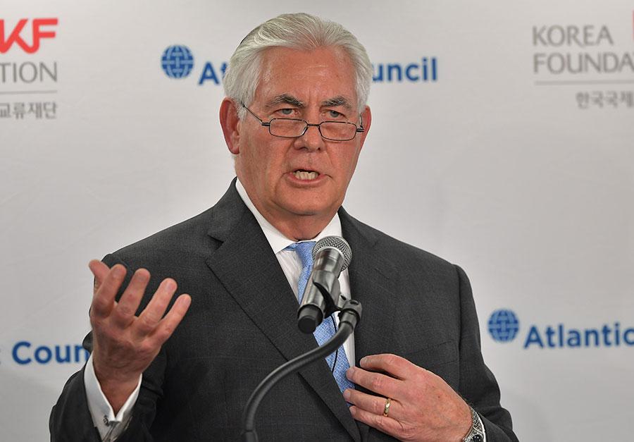 美國國務卿蒂勒森周五說,美國孤立北韓的政策奏效,促成了兩韓兩國會談。(MANDEL NGAN/AFP/Getty Images)