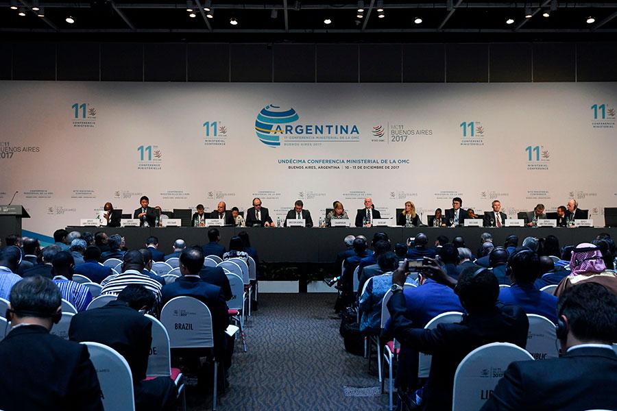 世界貿易組織(世貿)第11屆部長會議於12月10日在阿根廷首都布宜諾斯艾利斯(Buenos Aires)舉行開幕式。(EITAN ABRAMOVICH/AFP/Getty Images)