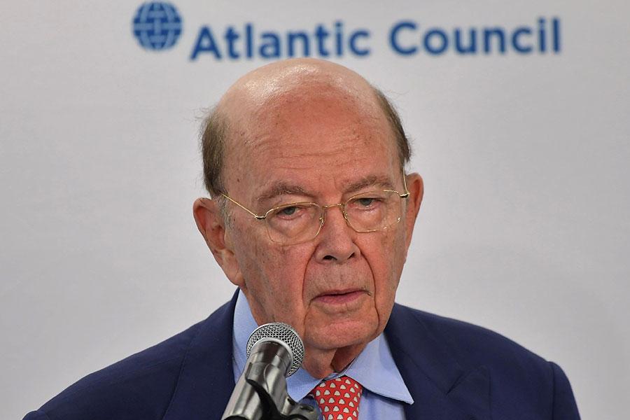 美國商務部長羅斯(Wilbur Ross)周二在華府智庫大西洋理事會(Atlantic Council)舉辦的一個論壇上發表演說。(MANDEL NGAN/AFP/Getty Images)