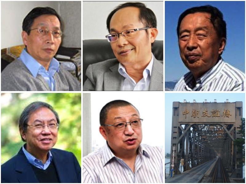 朝鮮半島戰爭疑雲,專家聚焦。從左至右:上排:胡平、馮崇義、羅宇;下排:鄭宇碩、陳平。(大紀元合成圖)