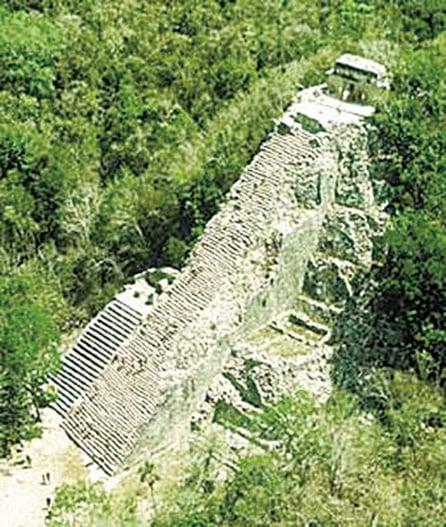 高達42公尺的大金字塔(Nohoch Mul)。(網絡圖片)
