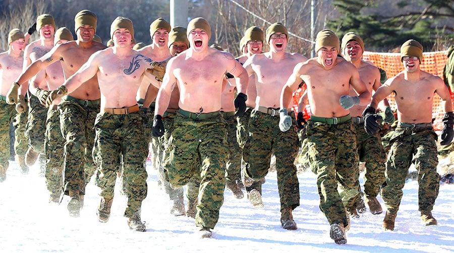 美韓海軍陸戰隊軍演 零下20度打赤膊冬訓