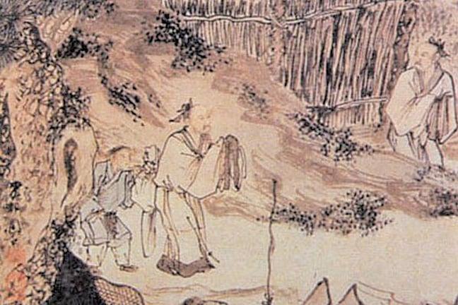 明朝周臣《柴門送客圖》,取材自杜甫《南鄰》「相對柴門月色新」詩意(公有領域)