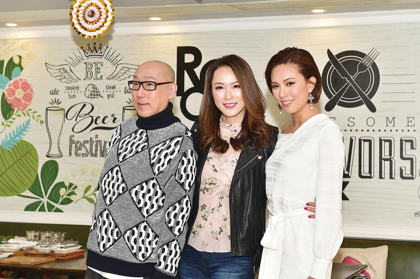張學潤(左)、童愛玲(中)及朱慧敏(右)出席舞台劇記者招待會。(郭威利/大紀元)