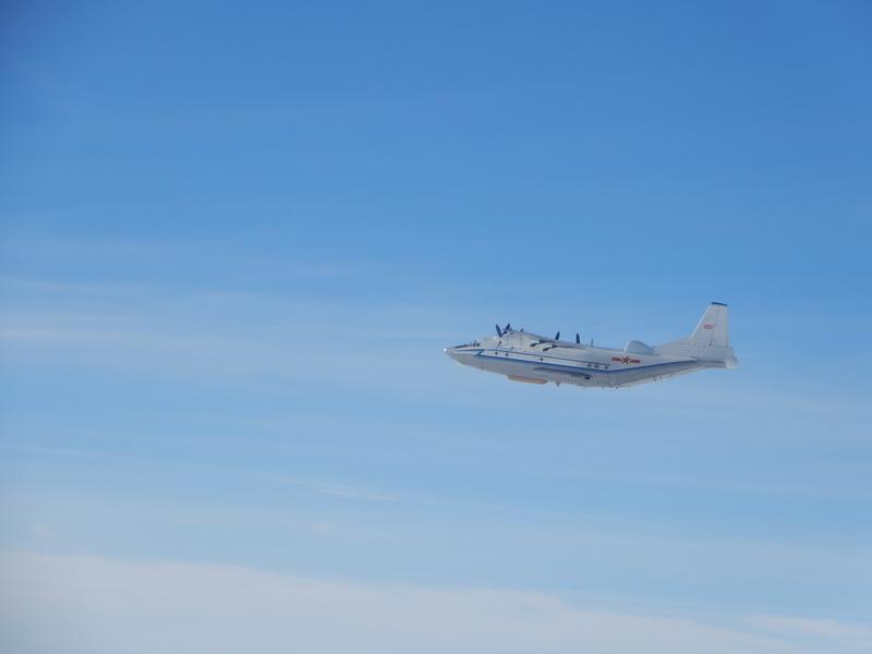 共機近期頻繁繞台,中共又片面宣佈啟動M503北上航線,引發台海緊張。圖為中共運8遠干機2016年12月17日執行遠海長航。(台灣國防部)