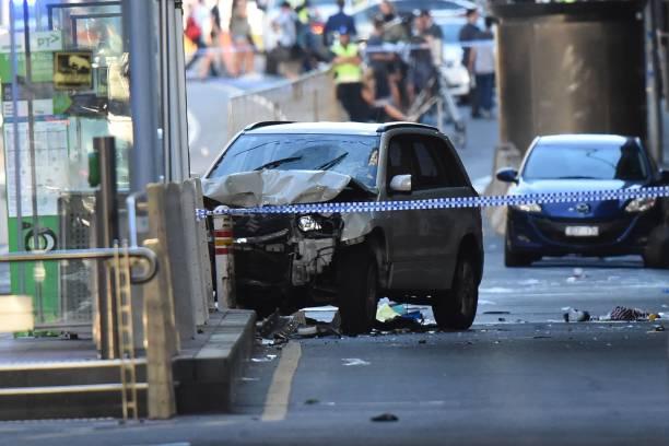 被撞毀的肇事車輛。(MAL FAIRCLOUGH/AFP/Getty Images)