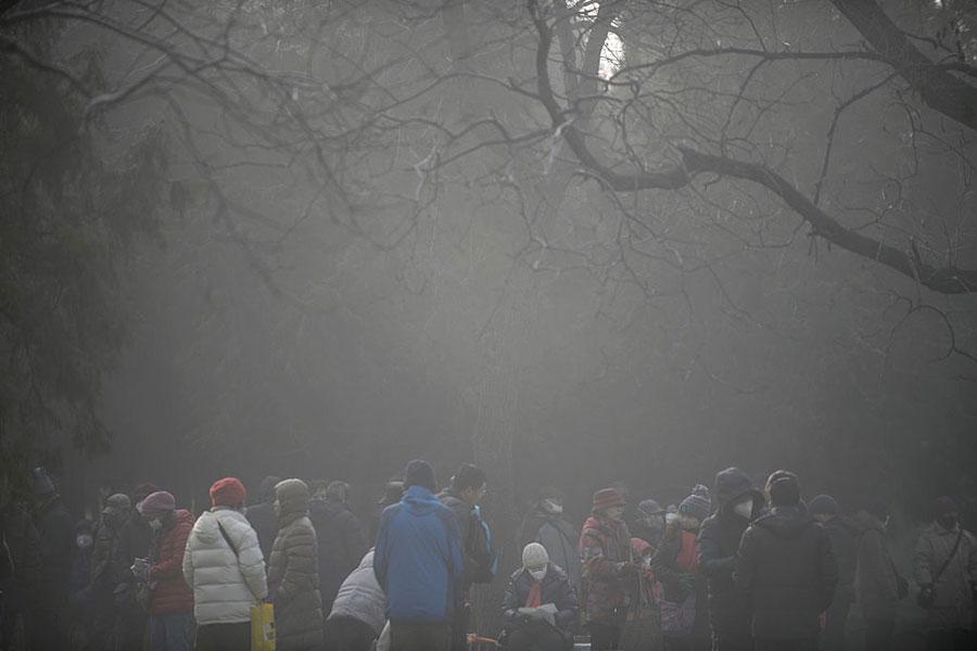 圖為2017年1月4日北京的空氣污染嚴重。(Getty Images)