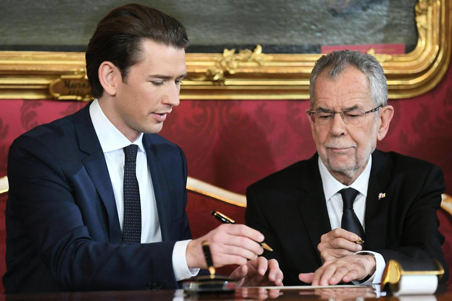 奧地利右翼聯合政府成立 31歲總理宣誓就職