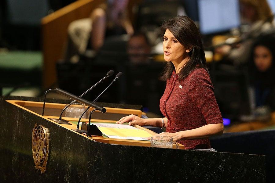 美國駐聯合國代表黑利在表決前就表示,這項決議不會改變美國將駐以色列大使館遷往耶路撒冷的決定。(Spencer Platt/Getty Images)