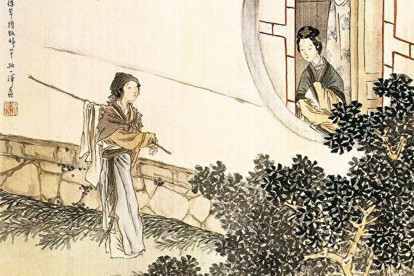 清朝末年 任熊 窗外仕女圖。(公有領域)