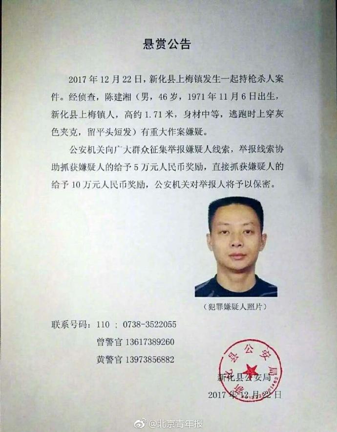 12月22日晚,湖南省婁底市新化縣發生一起警察持槍殺人案,目前疑犯陳建湘仍在潛逃。(網絡圖片)