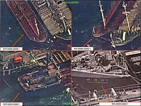 美國偵察衛星捕捉到北韓船舶在北韓半島西海公海上從中國船舶上進行油類走私的現場畫面。(美國財政部)