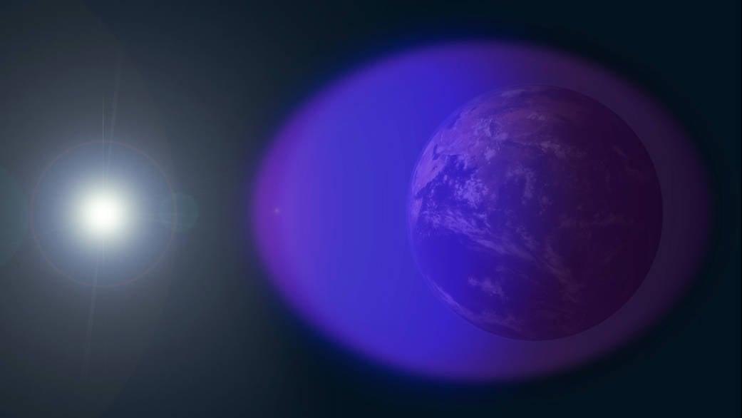 模擬圖:包裹地球的物質和太陽之間的關係。(NASA)