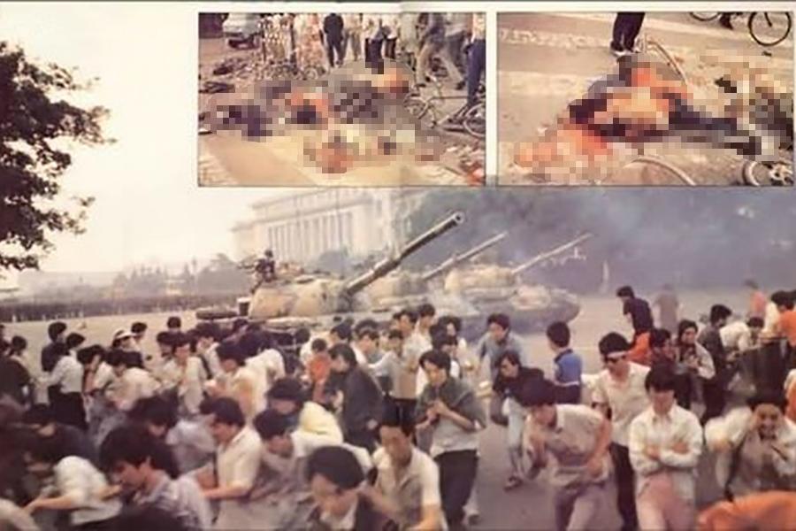 1989年6月3日晚間至6月4日淩晨,中共調集20多萬的戒嚴部隊進行血腥鎮壓,開槍屠殺手無寸鐵的學生和北京市民,用坦克車輾壓民眾。(六四檔案)