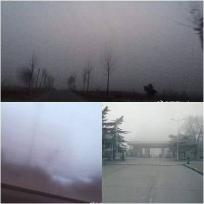 北京、天津、河北等十餘省被陰霾籠罩,局部地區能見度不足50米。(網絡圖片)