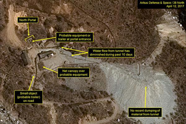 2017年4月,美國研究北韓問題網站「北緯38度」(38 North)發現北韓豐溪里核試場就第六次核試準備就緒。圖為北韓豐溪里核試場衛星地圖。(38 North網站)