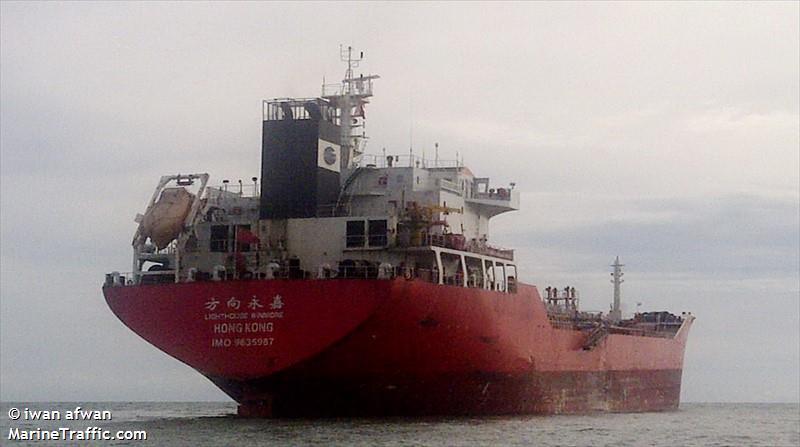 南韓外交部官員告訴美聯社,Lighthouse Winmore於10月19日在東海國際海域向北韓船隻Sam Jong 2轉移600噸精煉石油。(視像擷圖)