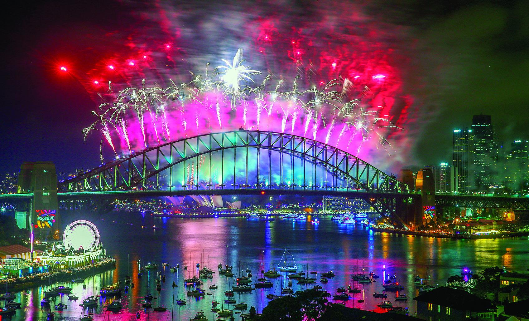 悉尼迎接2018年的煙花秀。(Getty Images)