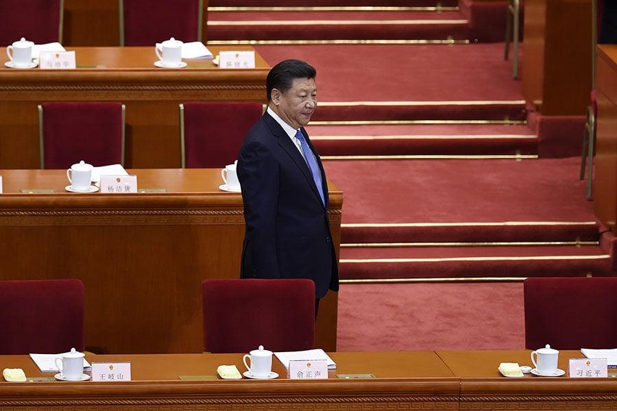 習近平在中共十九大會議上。(WANG ZHAO/AFP/Getty Images)