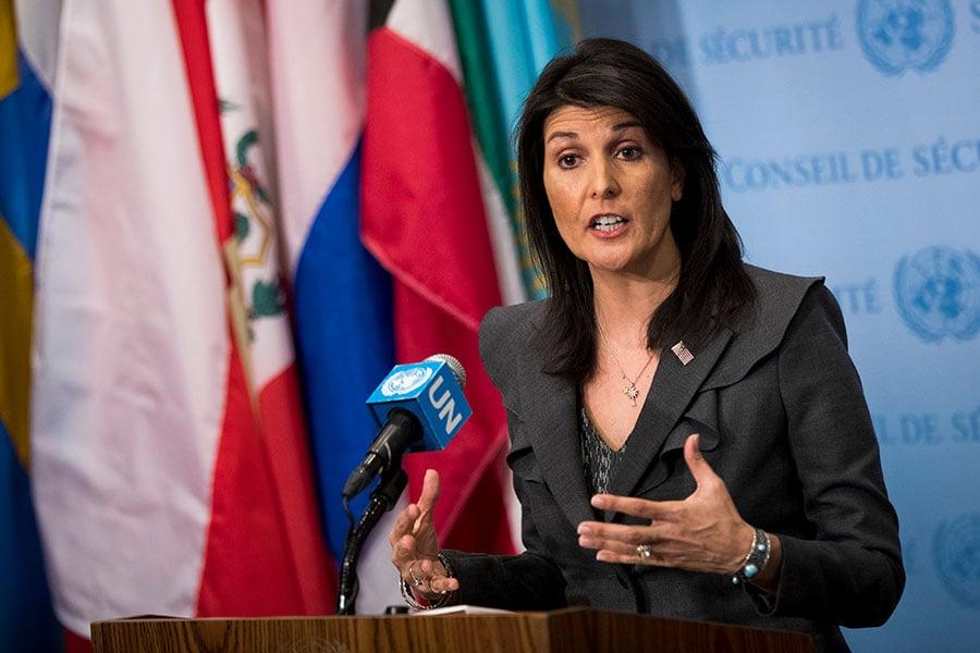 美國駐聯合國大使黑利周日接受ABC新聞專訪時對一系列問題做了解釋,其中包括特朗普對金正恩的核回應。圖為1月2日黑利在聯合國總部就伊朗和北韓問題發表講話。(Drew Angerer/Getty Images)