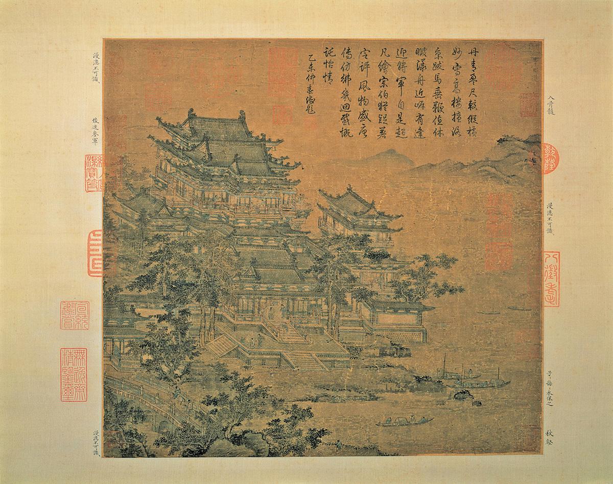 唐 李昭道 洛陽樓圖。洛陽樓是洛陽的古老建築之一。(公有領域)
