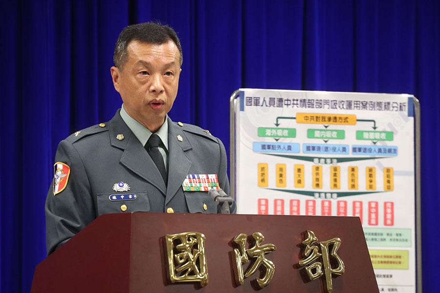 周泓旭共諜案,台灣國防部發言人陳中吉3日表示,軍方有4名現役、2名退役人員接受檢方調查,以證人身份釐清案情,「到目前為止,沒有涉案」。(中央社)