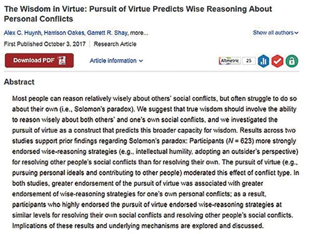 研究發現,當人注重道德,並且致力於發掘自己和別人最好的一面時,往往在處理問題時不帶偏見,智慧更大。(網頁截圖)