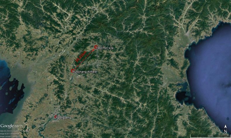 2017年4月28日,朝鮮從普革空軍機場(Pukchang Airfield)發射一枚中程導彈,最後落入德川市(Tokchon)。(Google地圖)