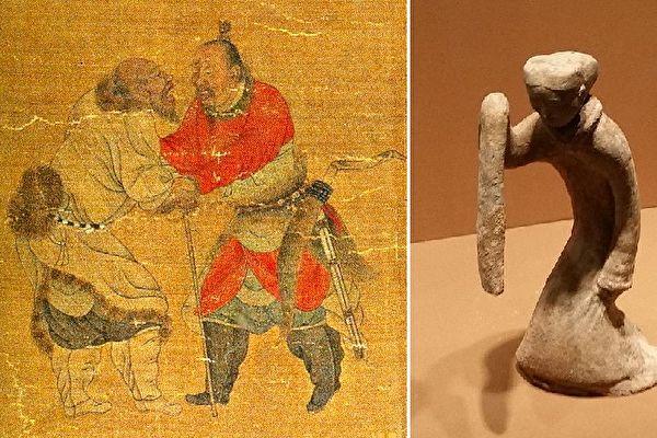 匈奴與漢朝和親關係好轉,蘇武得以歸國。李陵設宴送行,千言萬語難以描述他此時的複雜心情,他舉起衣袖開始起舞而歌。(公有領域,Wikimedia Commons: Ecelan/大紀元合成)