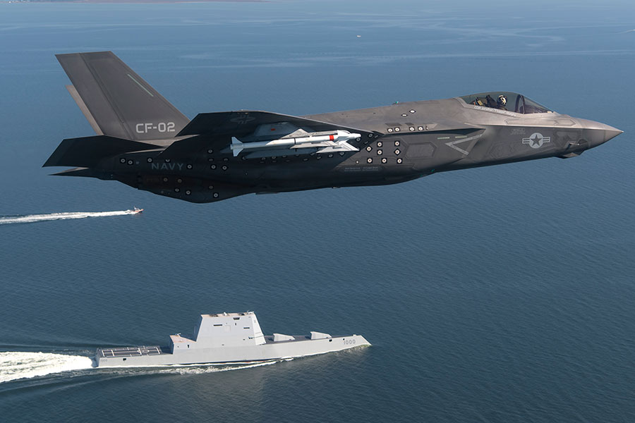 圖為美軍F-35閃電II第五代隱形多用途戰鬥機。(U.S. Navy photo by Andy Wolfe/Released)