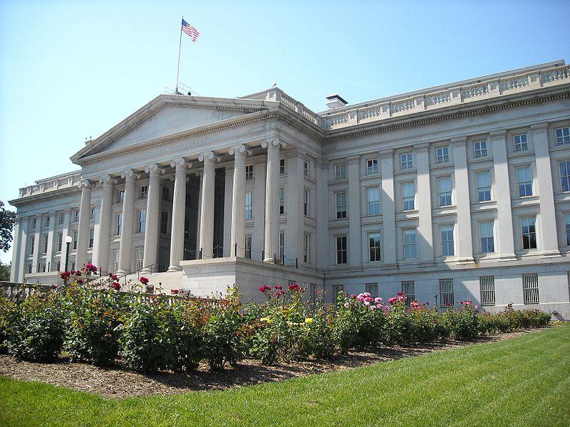 美國財政部下屬的外國投資委員會否決了中資企業螞蟻金服收購速匯金的案件。圖為美國財政部。(Agnostic Preachers Kid/Wikimeida Commons)