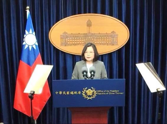 中共擅自片面啟用M503航線,台灣總統蔡英文1月7日表示,此舉不僅影響飛安,更是對台海現狀的破壞。(資料圖片,台灣總統府)