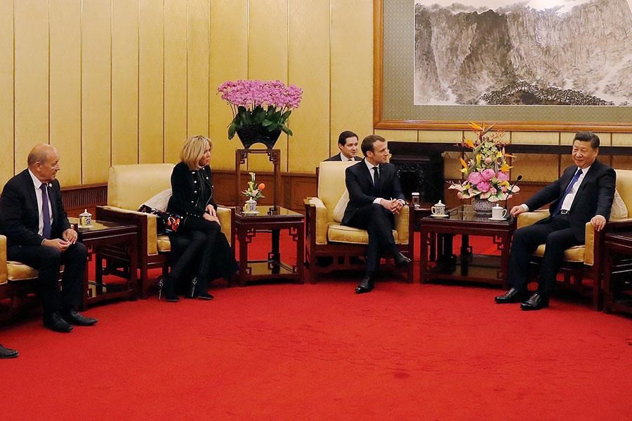 法國總統馬克龍周一(1月8日)開始展開為期三天的對華國是訪問,備受關注。(Andy Wong- Pool/Getty Images)