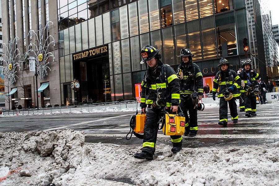 特朗普大樓著火 逾100名消防員滅火