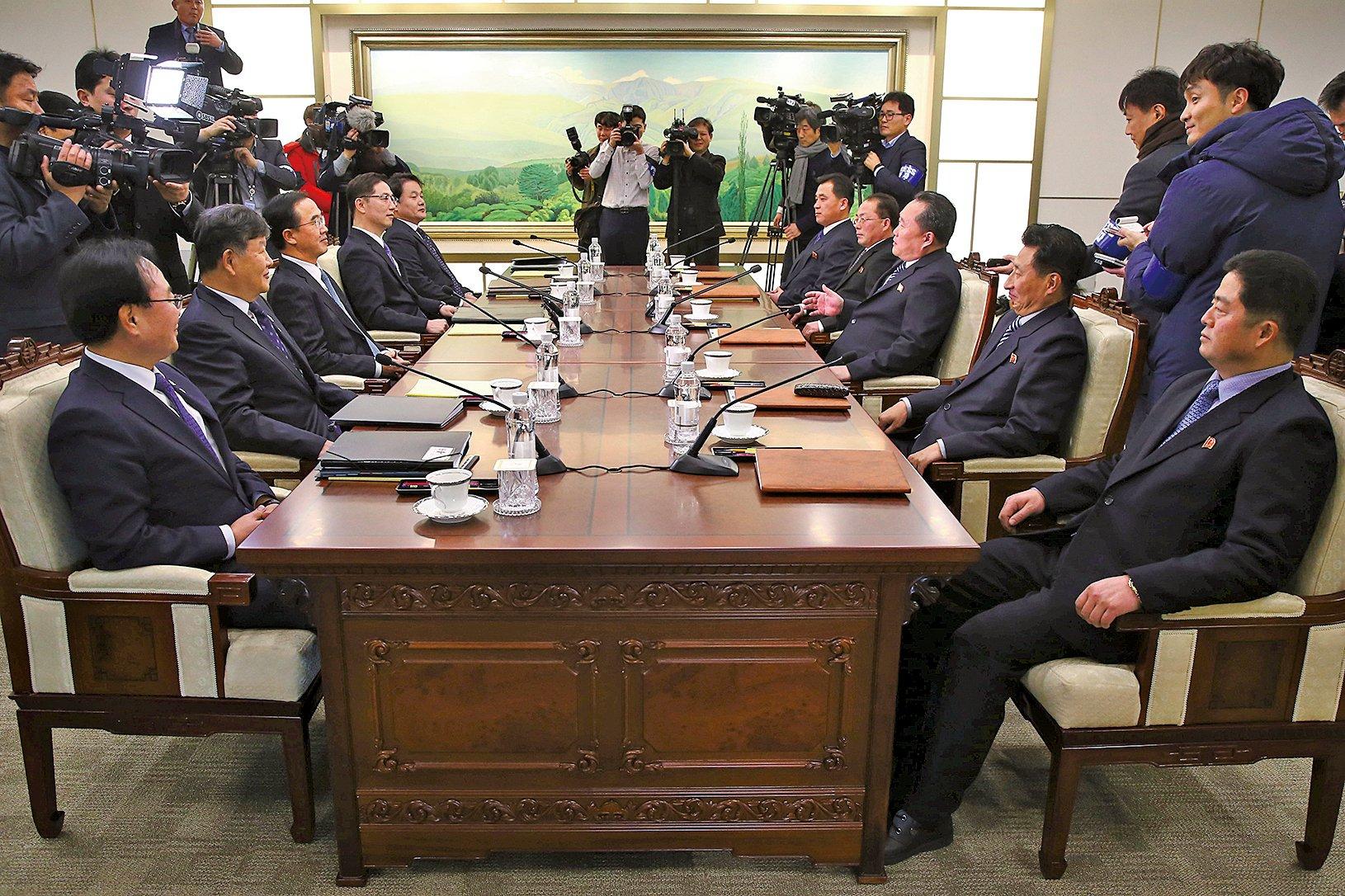 兩韓高級別會談9日在板門店南韓轄區「和平之家」召開。(AFP)