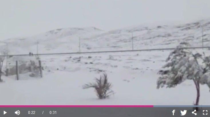 撒哈拉沙漠罕見降雪 沙丘一片白雪皚皚