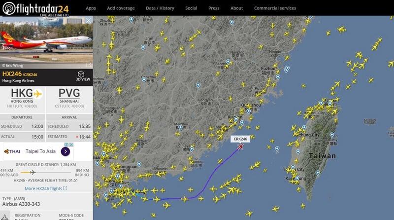 中國民航局4日透過官網宣佈,M503航線北上方向及相關銜接航線今天啟用,並聲稱這一航線為民航航線。4日下午3時許一架香港航空從香港飛往上海的班機,正在M503北上航線上飛行。(flightradar24.com/中央社)