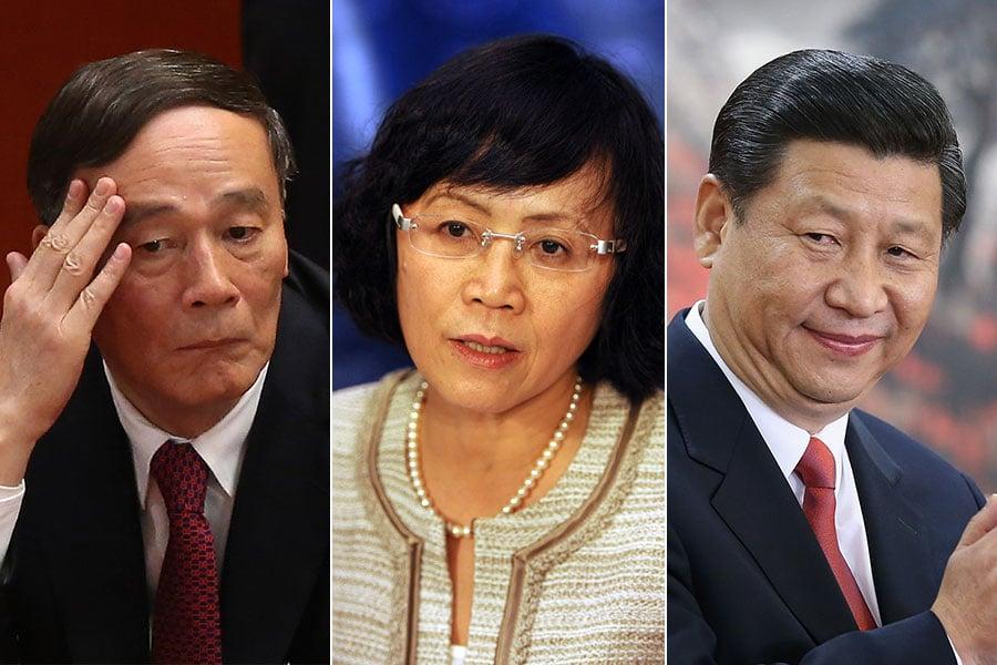 胡舒立(中)擔任財新傳媒總編輯期間,財新傳媒多次率先披露即將落馬貪官的消息。據悉,她與王岐山(左)、習近平(右)關係密切。(Feng Li, MIKE CLARKE/AFP/Getty Images/大紀元合成)