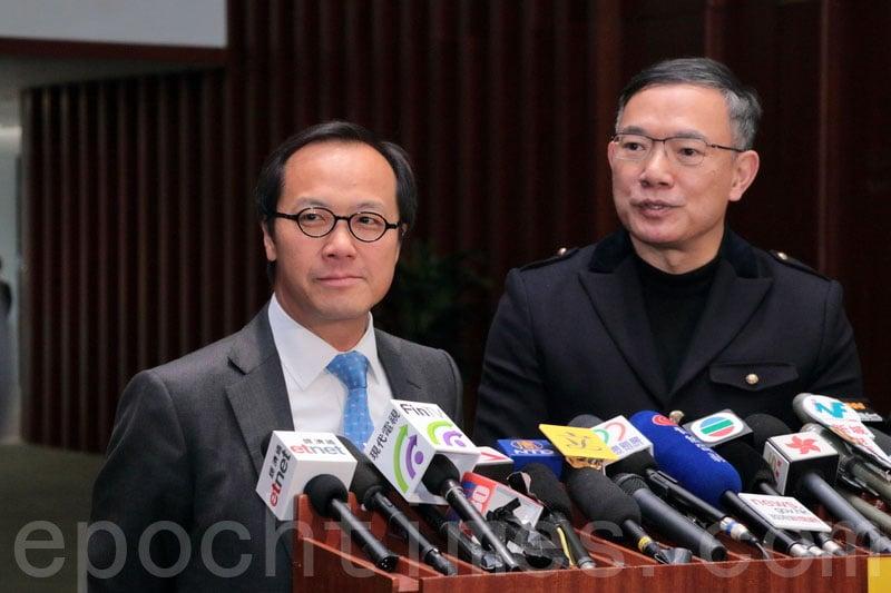 謝偉俊(右)表示考慮引用特權法,傳召證人出席調查前行政長官梁振英UGL事件委員會的研訊。(蔡雯文/大紀元)