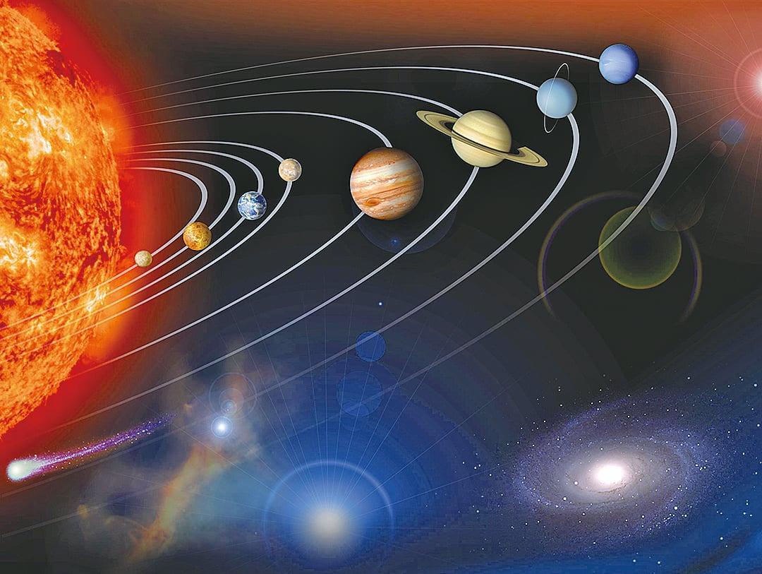 地球和其它行星隨著太陽運行的示意圖。(NASA)