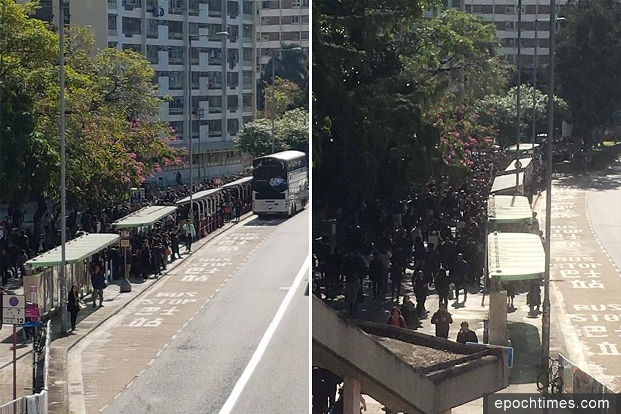 上午10時,大圍站外的新翠邨巴士站,排隊等候巴士的人數眾多。(So Fei/香港突發事故報料區、大紀元)