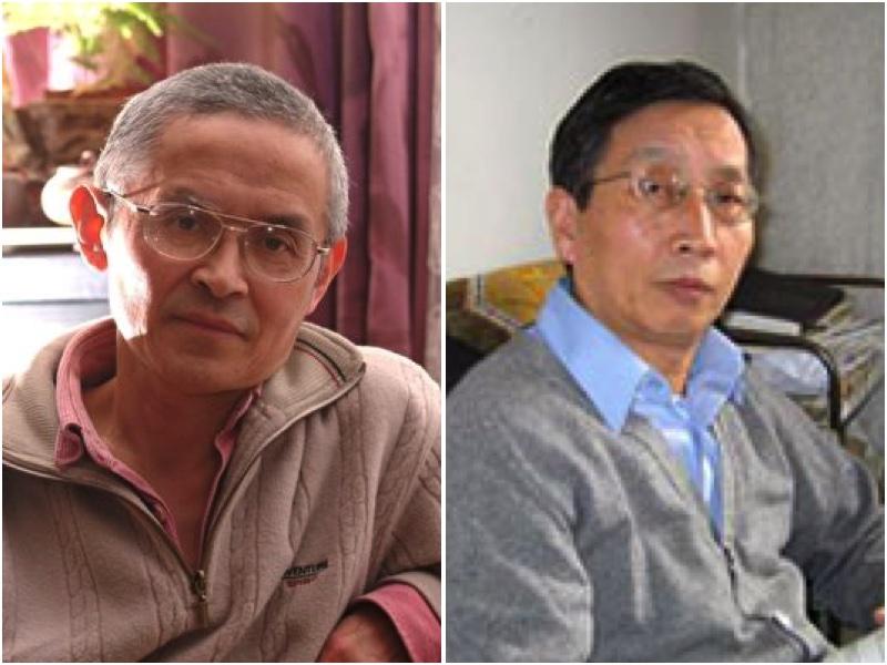 德國華裔學者仲維光(左)與美國華裔政論家胡平(右)就中共更改教科書進行點評(大紀元合成圖)