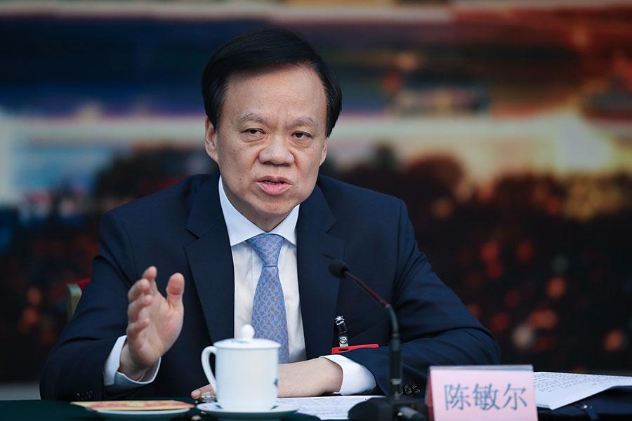 陳敏爾去年7月主政江派窩點後,2018年開年對重慶市人事進行密集調整。(Lintao Zhang/Getty Images)