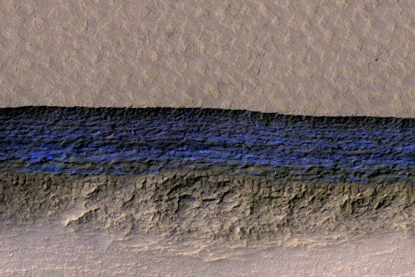科學家週四(1月11日)表示,在火星上發現了超過300英尺深的巨大冰層。(NASA/JPL-Caltech/UA/USGS)