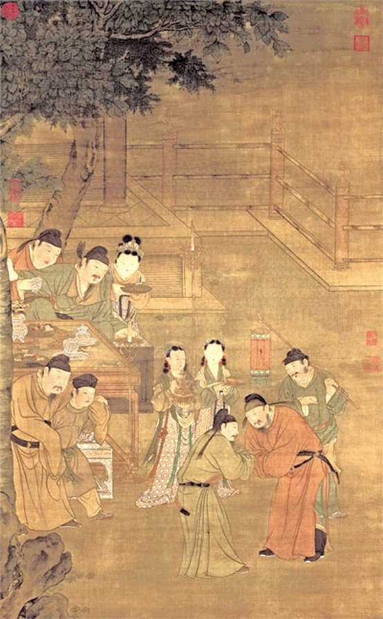 《明人五王醉歸圖》,唐玄宗少時與四位兄弟感情和睦,經常相從宴飲,此幅畫描敘五位皇子夜宴歡飲的情景,現藏台北故宮博物院。(公有領域)
