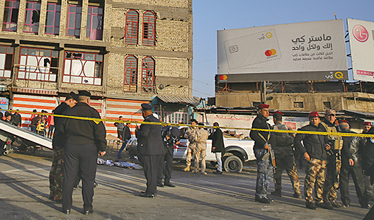 伊拉克首都巴格達市中心,15日發生兩起炸彈攻擊事件,目前至少有38人喪生、105人受傷。(AFP)