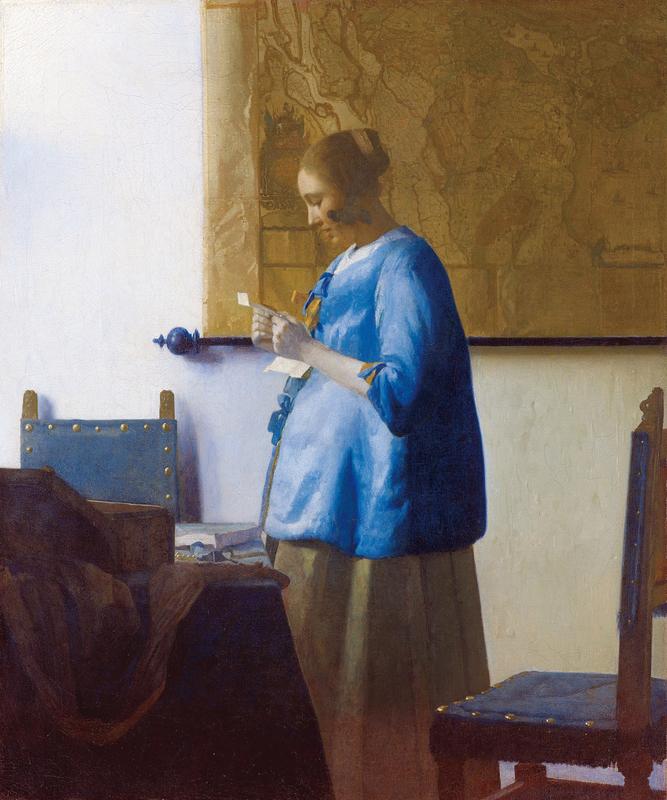歐洲巴洛克時代畫家維梅爾(Jan Vermeer)作品《讀信的藍衣女子》(攝影/謝哲青 圓神出版社提供)